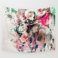 Watercolor Elephant and Flowers Wall Tapestry by RIZA PEKER