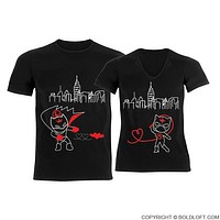 We're Irresistibly Attracted™ His & Hers Matching Couple Shirt Set Black