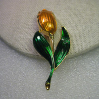 Vintage Orange Enameled Tulip Brooch, Goldtone