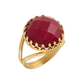 14K gold plated red stones ring