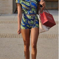 Blue Multi Print Cap Sleeve Cropped T-shirt and Shorts