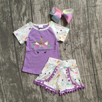 baby girls summer clothes children girls unicorn boutique outfits girls unicorn lavender top with unicorn shorts with match bow