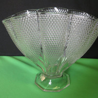 "Vintage L E Smith Glass Crystal Dewpoint Pillow 8 1/4"" Fan, Envelope Vase Made in USA"