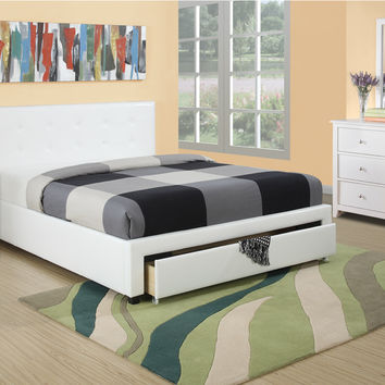 Poundex White Queen Bed Only