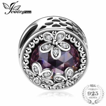 JewelryPalace 925 Sterling Silver Beads Charms Sparkling Daisies Cubic Zirconia Charm Fit Bracelet Bangles Flower Silver Jewelry