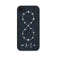 Infinity Sign Constellation Personalized iPhone 4 Case - iPhone 4 Skin - Navy Blue White Star Galaxy Customized Valentine - Valentine's Day