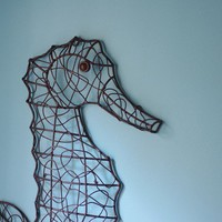 Beach Wall Decor Metal Wire Seahorse - Dark Brown