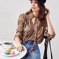 Free People Womens Modern Muse Print Blouse