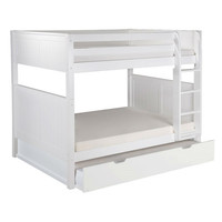 Full over Full Bunk Bed with Twin size Trundle Bed in White Wood Finish