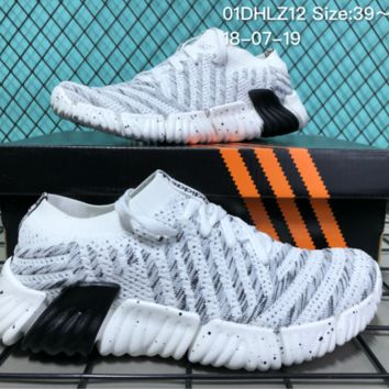 AUGUAU A046 Adidas Superstar II 2018 Summer Low Breathable Knit Running Shoes White Black