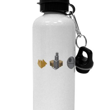 History of Architecture Funny Sci-fi Aluminum 600ml Water Bottle by TooLoud