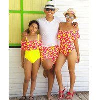 Mother Daughter Clothes Sets Family Matching Swimsuit Swimwear Bikini Family Look Dad Mom Clothing Summer Beach Bathing Suit