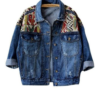 Blue Printed Denim Jacket
