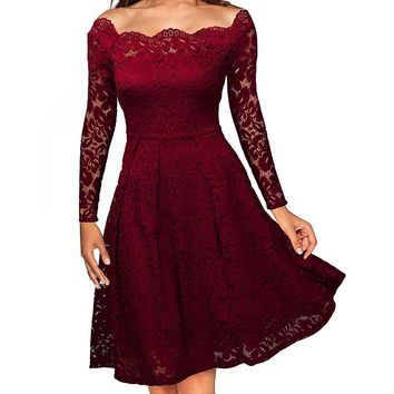 Olddnew Women's Vintage Dress Floral Long Sleeve Lace Dress Boat Neck Cocktail Formal Swing Dress