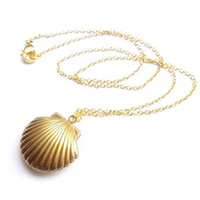 Gold Brass Sea Shell Unisex Pendant Necklace