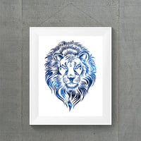 Blue Galaxy Lion Head Print, Lion Dorm Decor, Galaxy Dorm Decor, Space Nursery Decor, Lion Nursery Decor, Galaxy Home Decor, Namaste Art