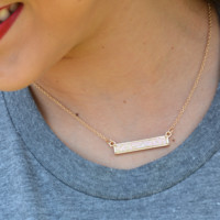 LaRue Bar Necklace- Ivory Druzy