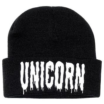 Europe and America Men and Women Warm Autumn and Winter UNICORN Knitting Skullies & Beanies Hat Ski Wool Cap RX002