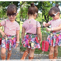 Multicolored Two Piece Girls Summer Dress- Pink