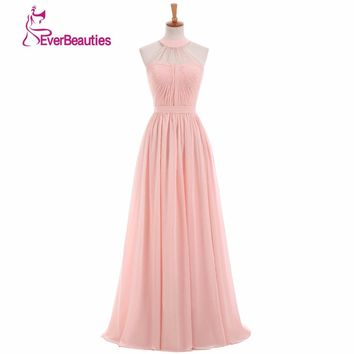 Women's  Light Pink Bridesmaid Dress 2017 vestido de la dama de honor Party Gown Wedding Prom Dress for Bridesmaid