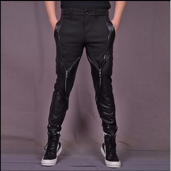 NEW Hairstylist pants nightclubs punk rock zipper casual pants men black stretch pants Splicing leather trousers singer costumes