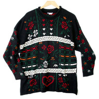Vintage 80s Hearts and Roses Oversized Slouch Valentines Ugly Sweater