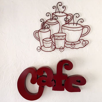 Cafe and coffee cups steaming wall sign art, red, kitchen decor