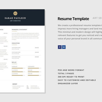Professional Resume Template, CV Template for MS Word, Creative Resume, Modern Resume Design, Resume Instant Download Nebula Resume