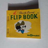 Mickey Mouse Flip Book, Collectible Vintage Walt Disney World Souvenir, Moving Picture Book, 1970's