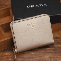 PRADA Zipper bag Women Leather Purse Wallet G-YJBD-2H