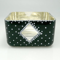 White Gold and Black Hand Painted Dot With Diamond Peek-A-Boo on Square Glass Bowl, Black and Silver, Verre Eglomisé, Reverse Gilded
