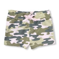 Toddler Girls Matchables Camo Paperbag Knit Shorts   The Children's Place