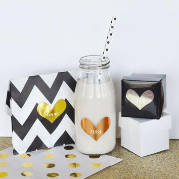 Personalized Gold & Silver Foil Heart Stickers (Set of 24)