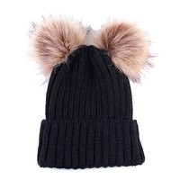 Double Pom Knitted Hat