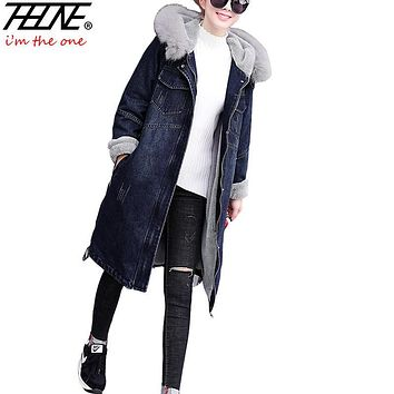 Trendy THHONE Denim Jacket Coat Women Parka Fur Hooded Collar Warm Fleece Winter Coats Outwear Snow Wear Long Female Winter Jacket AT_94_13