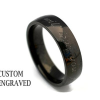 6mm Engraved Stainless Steel Black Ring - 8mm Personalized Steel Ring -Stainless Steel Men Women Ring - Custom Engraved Black Ring