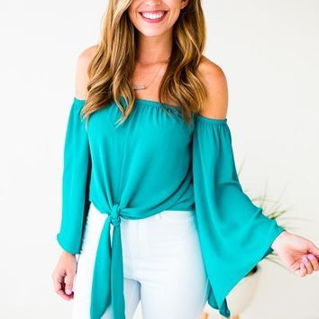 Forever Young OTS Tie Top in Turquoise
