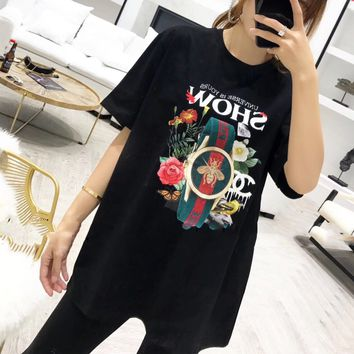 """Gucci"" Women Casual Fashion Letter Watch Pattern Print Short Sleeve T-shirt Top Tee"