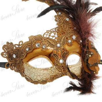 Venetian Goddess Golden Bronze Masquerade Mask Made of Resin, Paper Mache Technique with High Fashion Macrame Lace & Feathers