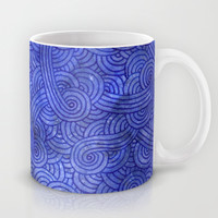 Blue night doodles Mug by Savousepate