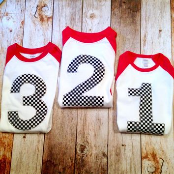 Race Car birthday shirt Checkered Flag Boys 3 on a Red and White Raglan 1st, 2nd, 3rd, 4th, 5th black and white checker party supplies cake