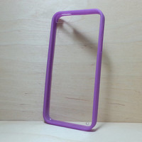Silicone Bumper and Clear Hard Plastic Back Case for iPhone 5 / 5S - Purple