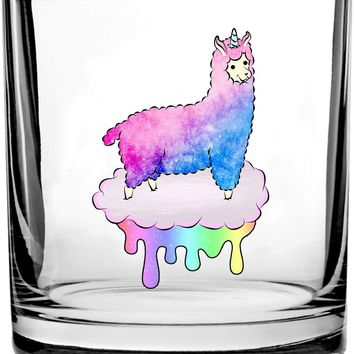 Mystical Fluffy Alpacacorn Standing Gallantly On a Rainbow Dripping Cloud - 3D Color Printed Scotch Whiskey Glass 10.5 oz