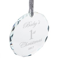 Baby's First 1st Christmas 2017 Etched Round Crystal Ornament