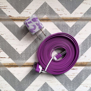 New Super Cute Purple Glitter Cheetah Print USB Wall Connector + 10ft Purple iPhone 4/4g/4s Cable Cord