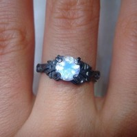 Handmade moonstone and sterling silver ring bound by coven for you!