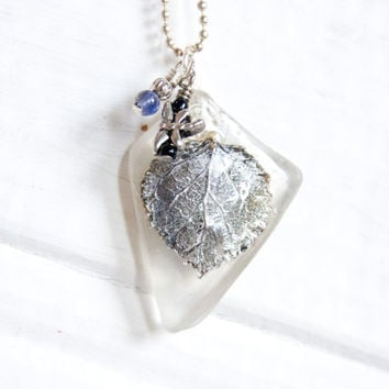 Silver Aspen Leaf Pendant, Recycled Beach Glass Necklace, Nature Jewelry