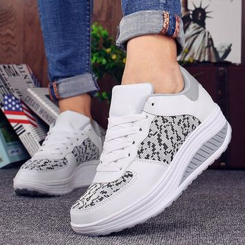 Womens Fashion Sneakers Summer Platform Wedges Casual Shoes Trainers