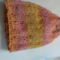 Lion Brand Tweed Stripes Bulky Warm Hand Knitted Very Soft Hat Seashells