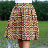 Chevron Skirt, Fall colors womens midi skirt, Tea length skirt, earthy tone, Tribal Skirt